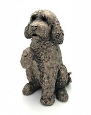 More details for frith sculptures clover cockapoo with paw up cold cast bronze figurine at045