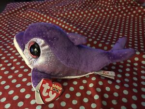 "Ty Beanie Boos Flips the Dolphin Purple Boo 6"" Rare"