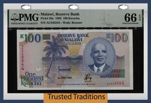 TT PK 29a 1993 MALAWI RESERVE BANK 100 KWACHA PMG 66 EPQ GEM UNCIRCULATED!