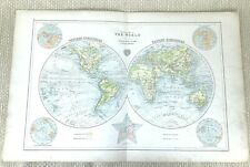 1899 Antique Map of the World Globe Eastern Western Hemisphere Ocean Currents
