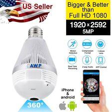 360° Wide Angle HD 1920x2592 5MP Light Bulb Security WIFI Camera MIC/Speaker