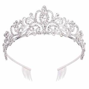 Silver Crystal Tiara Crowns For Women Girls Princess Elegant