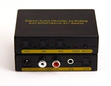 3in x 1out Digital Optical Audio Switch w/ Analog Stereo Dolby Decoder Converter