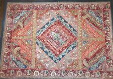 antique hand embroidered turkish metal threaded needlepoint textile tapestry art