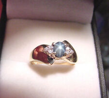 GENUINE NATURAL GREENISH BLUE STAR SAPPHIRE .45 CT with DIAMONDS 14K GOLD RING