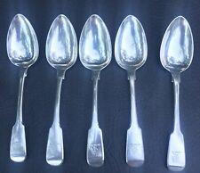 William Bateman London 1818 Sterling Silver W/ Family Crest Eagle Spoon Lot Of 5