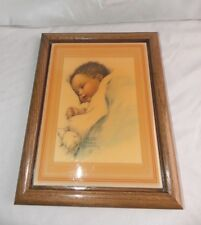 """Vtg 1983 FRAMED TILE ART BY BESSIE PEASE GUTMANN Sleeping Baby """"Love's Blossom"""""""