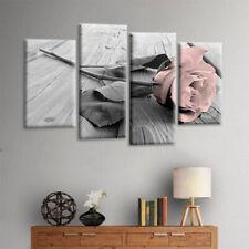 4PCS Grey White Love Rose Floral Canvas Wall Art Picture Prints Decor Pink