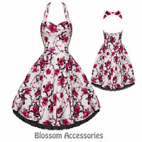 RKH2 Hearts and Roses H&R Pink Floral Rockabilly Evening Dress 50s Retro Plus