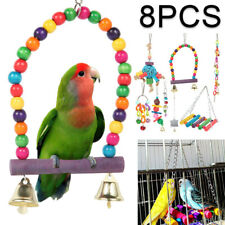 8pcs Bird Parrot Toys Parakeet Cockatiel Budgie Hanging Swing Rope Cage Training
