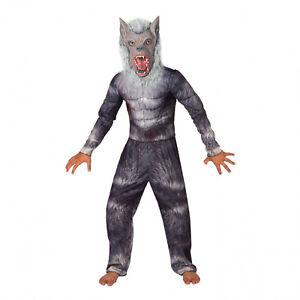 Kids Deluxe Werewolf Costume Boys Halloween Fancy Dress incl Muscle Top + Mask