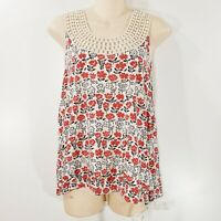 Tommy Hilfiger Sleeveless Top Medium Red White Floral Crochet Neck Blouse T4