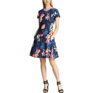 DKNY Womens Navy Floral Fit & Flare Mini Cocktail Dress 8 BHFO 3941