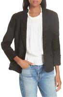 Frame Womens Blazer Black 4 Button-Cuffs Pleat-Shoulder Single-Button $375 149