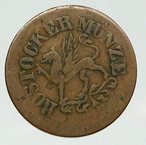 1864 GERMAN STATES Rostock GRIFFIN Antique VINTAGE OLD 3 Pfennig Coin i92707