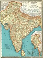 1937 Antique INDIA Map Vintage Map of BURMA MAP of India Gallery Wall Art 7556