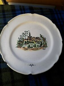 vallauris vintage hand painted decorative plate 25.5cm signed