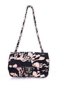 CHANEL Pink Black Vintage Mini Bag Chain Strap Flap Purse CC Satin 90s rare Chic