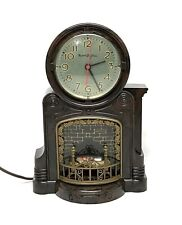 Vintage Mastercrafters Fireplace Animated Motion Lighted Clock - Working