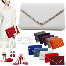 Lavish Gold Trim Envelope Suede Velvet Womens Party Prom Wedding Clutch Bag