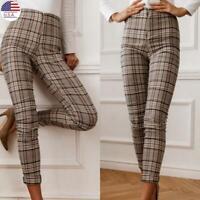 Women High Waist Casual Office OL Long Pants Ladies Plaid Check Pencil Trousers