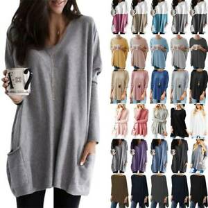 Plus Size Womens Long Sleeve T-Shirt Pullover Tops Loose Tunic Casual Mini Dress