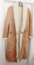 ANDREW MARC Cowhide Leather Coat Shearling Lined Long Ranch Tan Men's M RARE