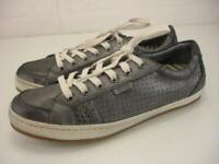 Women's 9.5 M Taos Freedom Metallic Gray Leather Shoes Sneakers Lace-Up Studded