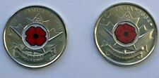 CANADA 2004 + 2008 Uncirculated Canada QUARTER RED COLOR POPPY 25 CENT 25c COINS