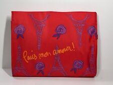 Lancôme Red Makeup Bag with Rhinestone Rose Pull