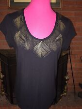 Michael Kors Black/gold Blouse Size Large Ok-1050