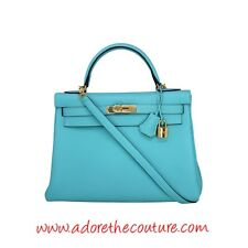"HERMES KELLY RETOURNE 32 'Blue Atoll"" Togo Leather w/ Gold Plated Hardware 2015"