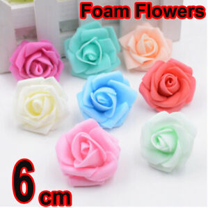 6 CM FOAM ROSES Colored Flowers Without Stem Artificial Wedding Bouquet DECOR