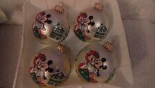 Christmas ornaments set of 4 glass mickey & minnie mouse by Krebs