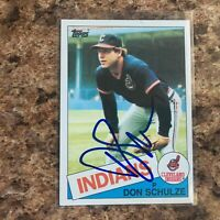 Don Schulze Signed 1985 Topps Auto Cleveland Indians