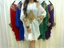 Moroccan Dubai off white gold lace Tunic UK 6 8 10 12 14 16