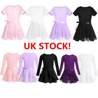 UK Girls Ballet Dance Dress Chiffon Gymnastics Leotard+Wrap Skirt Skate Costume