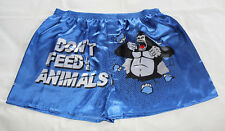 Dont Feed The Animals Mens Printed Novelty Satin Boxer Shorts Size XL New