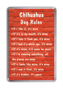 Chihuahua Dog Rules, Funny Dog Fridge Magnet Pet Animal Lover Novelty Gift
