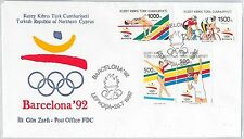 56498 - OLYMPIC GAMES - TURKISH CYPRUS - FDC  COVER 1992: TENNIS CYCLING GYMNAST