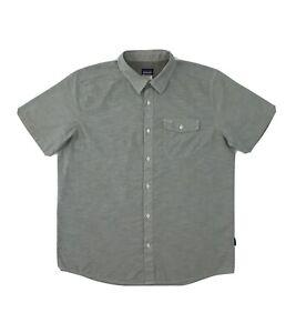 Patagonia Button Down Shirt Men's Large Grey Short Sleeve Golf Pocket