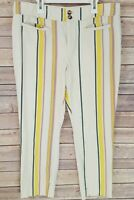 Anthropologie The Essential Slim Trousers Cropped Pants Multicolor Striped Sz 12