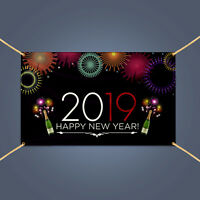 2019 Happy New Year Eve Champagne Party Celebration Outdoor Decor Banner Sign