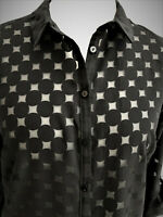 Womens Polka Dots-on-Organza Black Long Shirt Dress New UK Sizes 10-12-14-16-18