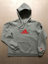 Vintage Adidas Hoodie Sweatshirt Pullover Gray Three Stripes Size Medium