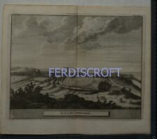 1727 Engraving View of Aberbrothock , Scotland -Les Delices de la Grand Bretagne