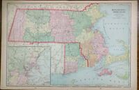"Vintage 1903 MASSACHUSETTS RHODE ISLAND Map 22""x14"" ~ Old Antique WORCHESTER"