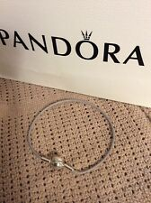 NEW Genuine PANDORA Sterling Silver/Gray Cord ESSENCE BRACELET-LG/7.5in. RETIRED