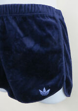 Adidas Ladies 70s 80s Velour Shorts Vintage Blue 1980s Retro Women D42 16 14 18