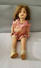 Vintage  Doll in Old Dress Plastic Composite Head Legs & Arm, Cloth Body